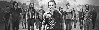"""The Walking Dead (season 7) - The primary characters of the seventh season, from """"The Well"""" onwards, include (from left to right): Sasha, Daryl, Tara, Michonne, Gabriel, Carol, Rick, Carl, Maggie, Jesus, Rosita, Morgan, and Aaron; absent: Eugene, Negan, Spencer, Dwight, and Gregory"""