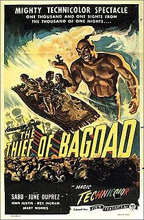 <i>The Thief of Bagdad</i> (1940 film) 1940 film by Ludwig Berger, Alexander Korda, Michael Powell, William Cameron Menzies, Zoltan Korda, Tim Whelan
