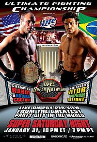A poster or logo for UFC 46: Supernatural.