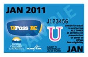 U-Pass BC - Previous U-Pass BC paper card design