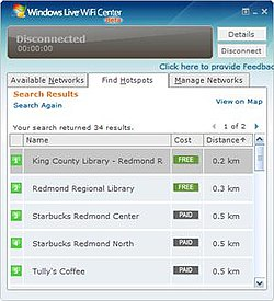 A screenshot of Windows Live WiFi Center