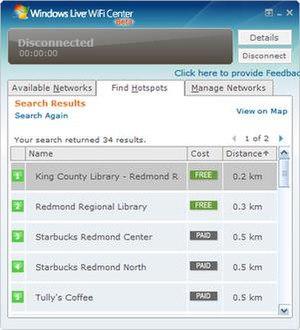 MSN WiFi Hotspots - A screenshot of Windows Live WiFi Center