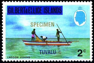 Postage stamps and postal history of Tuvalu - Image: 1976 stamp of Gilbert & Ellice Islands overprinted for Tuvalu