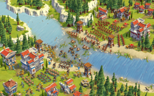 Age of Empires Online - Gameplay screenshot showing a battle scene.