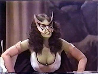 Huntress (Helena Wayne) - Actress Barbara Joyce as Huntress in the 1979 NBC Legends of the Superheroes TV special, Huntress' first non-comics appearance.