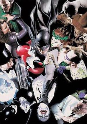 Batman - Batman surrounded by his enemies. Art by Alex Ross.