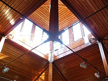 Blackheath Quaker Meeting House, ceiling and lantern of main meeting room
