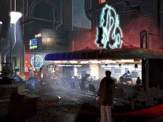 Blade Runner (1997 video game) - McCoy stands at the White Dragon Noodle Bar, the same location where Rick Deckard first appears in the film.