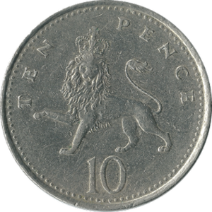 Ten pence (British coin) - Original reverse: 1968–2008