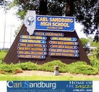Carl Sandburg High School - Carl Sandburg High School state championship sign at the intersection of 131st St. and LaGrange Rd.