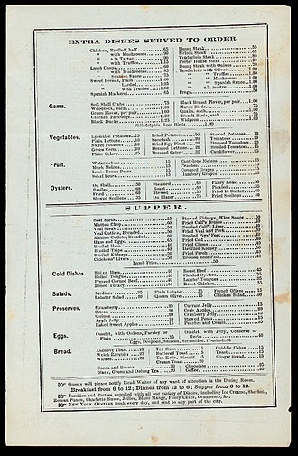 Fried clams - 1865 menu with fried clams and oysters
