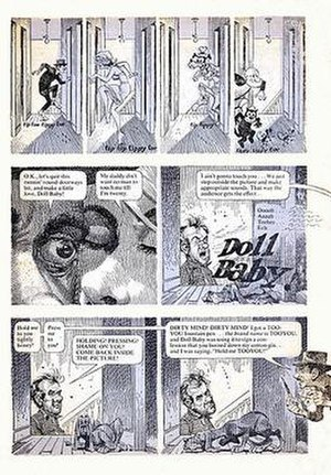"Humbug (magazine) - In the first issue of Humbug (August 1957), Jack Davis illustrated Harvey Kurtzman's parody of Elia Kazan's film of Tennessee Williams' Baby Doll (1956). Here is a page from ""Doll-Baby"" with Davis' caricatures of Karl Malden, Carroll Baker and Eli Wallach. The similarity to an animation walking cycle prompts appearances by animated cartoon characters—Goofy, Farmer Al Falfa and Felix the Cat."