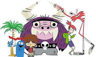 Foster's Home for Imaginary Friends - The main characters of the show. From left to right: Coco, Bloo, Mac, Eduardo, Frankie Foster, and Wilt