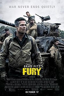 "Staring into the distance, a dishevelled soldier stands in front of a tank, with ""Fury"" written on the gun barrel and other soldiers leaning/sitting on and around it."