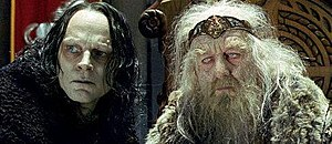 Gríma Wormtongue - Wormtongue (left) as portrayed by Brad Dourif in Peter Jackson's The Lord of the Rings: The Two Towers
