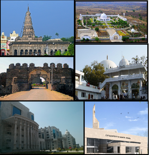 Gulbarga - Clockwise Sharana Basaveshwara Temple, Buddha Vihar, Khwaja Banda Nawaz Dargah, Central University of Karnataka, ESI Hospital Gulbarga and Gulbarga Fort
