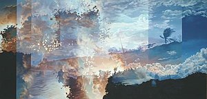 Multiple exposure - Ian Hornak. Title: Hannah Tillich's Mirror: Rembrandt's Three Trees Transformed Into The Expulsion From Eden, acrylic on canvas, 60 x 120 inches, 1978. An example of multiple as applied to fine art.