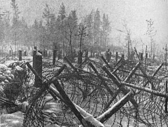 Battle of Krasny Bor - German field defences near Leningrad in January 1943
