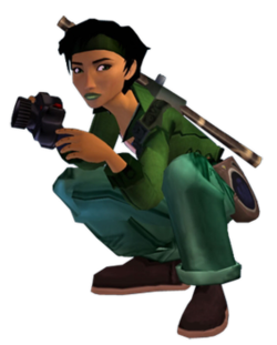 The rendered picture of a woman with dark hair and skin, carrying a camera, and wearing several pieces of green clothing.
