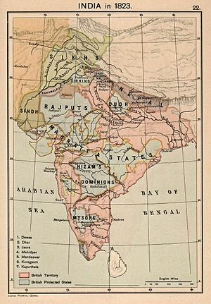 Inland Customs Line - India in 1823