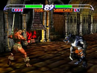 Killer Instinct Gold - Fights take place on a 2D plane set against a 3D background. The green bars and large number indicate character health and the time limit, respectively.