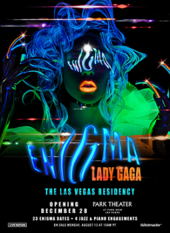 A colorful neon-lit image of Gaga's face with the residency name embossed on top.