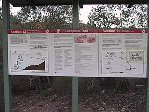 Larapinta Trail - A typical notice board between sections along the Larapinta Trail.