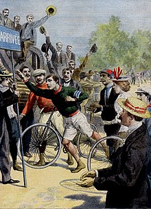 Len Hurst wins 1896 Paris Marathon - Le Petit Journal front page.jpg