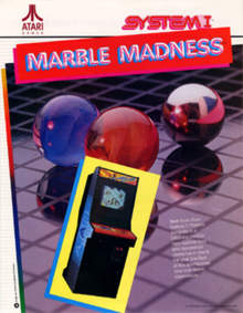 "Artwork of a vertical rectangular advertisement flyer. Pictured is an image of an arcade cabinet in front of an image of red, blue, and silver marbles on a gridded plane. The top left corner displays the Atari logo, while the top right corner reads ""System I"". Below the logo reads ""Marble Madness""."