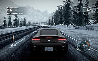 Need for Speed: The Run - A screenshot of a stage in the game. Need for Speed: The Run features sprint race events where the player must overtake all opponents to win.