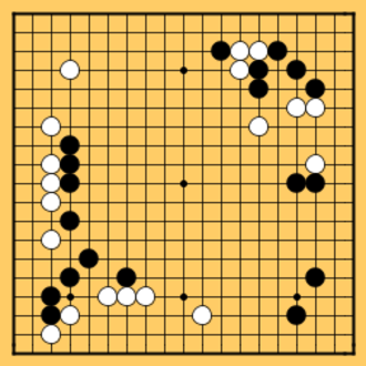 Go strategy - Game 1 of the 2002 LG Cup final between Choe Myeong-hun (White) and Lee Sedol (Black) at the end of the opening stage; White has developed a great deal of potential territory, while Black has emphasized central influence.