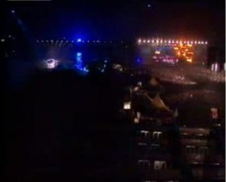 World Liberty Concert - Overview of the concert, showing the stage next to the bridge.