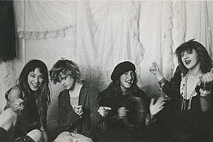 Pagan Babies (band) - A promotional shot of the band. From left to right:  Janis Tanaka, Kat Bjelland, Deirdre Schletter, and Courtney Love.