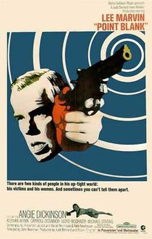 "The poster features an image of Lee Marvin's face beside a hand holding a gun with ripples of white radiating from the gun barrel. The image is tinted various areas with shades of green, red, and blue. The tagline reads, ""There are only two kinds of people in his up-tight world: his victims and his women. And sometimes you can't tell them apart."""