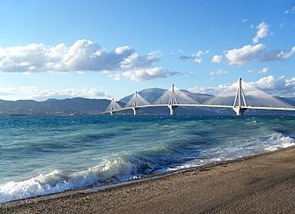 Rio–Antirrio bridge - The bridge on a windy day