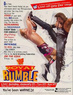 Royal Rumble (1996) - Promotional poster featuring Diesel performing a Big Boot on Owen Hart