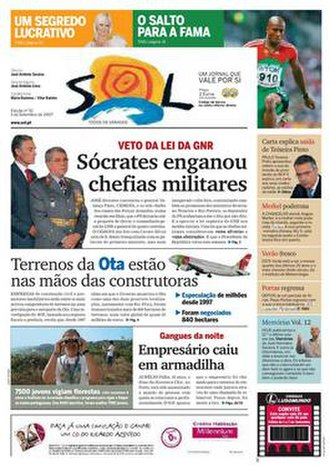 Sol (newspaper) - The 1 September 2007 front page of Sol
