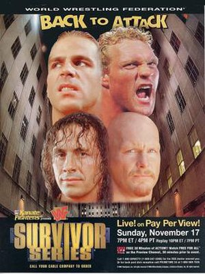 Survivor Series (1996) - Promotional poster featuring Bret Hart, Shawn Michaels, Sycho Sid, and Stone Cold Steve Austin
