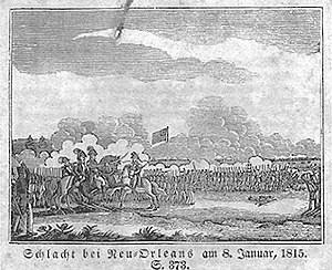 "German Coast - Engraving of the ""Schlacht bei Neu-Orleans"" or ""Battle of New Orleans"" in 1815."