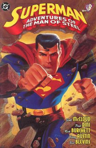 Superman Adventures - Cover of Superman: Adventures of the Man of Steel trade paperback from 1998. Art by Bruce Timm and Alex Ross.