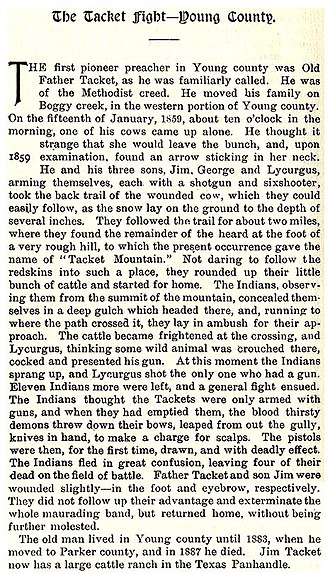 Pleasant Tackitt - An account of Pleasant on the Texas Frontier from Frontier Times magazine.