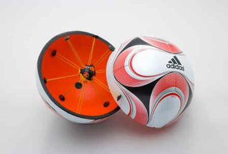 Goal-line technology - The Adidas Teamgeist II with implanted chip, part of the proposed Cairos-Adidas system for goal-line technology