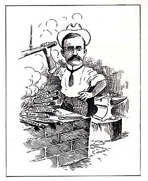 """Harry Clay Trexler - """"Colonel Harry Clay Trexler with His Irons in the Fire."""" From Newspaper Artists Club, """"As We See 'Em"""" (1911)."""