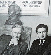 James Cannon and Felix Morrow, with a bust of Trotsky.