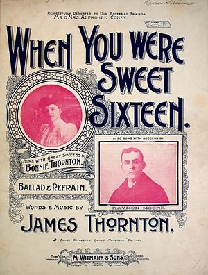 When You Were Sweet Sixteen - Cover, sheet music, 1898