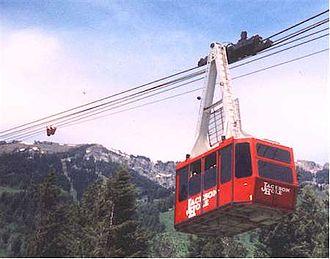 Jackson Hole Mountain Resort - The original JHMR tram (1966-2006) in the summer.