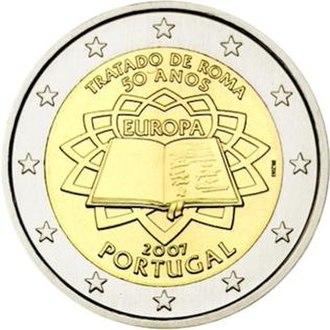 Portuguese euro coins - Image: €2 commemorative coin Portugal 2007 TOR