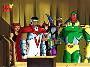 The Avengers: United They Stand - Part of the Avengers roster. Left to right: Tigra, Falcon, Scarlet Witch, Hawkeye and Vision.