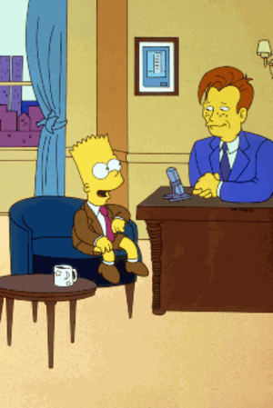 Bart Gets Famous - The episode's promotional image featuring Bart and Conan O'Brien