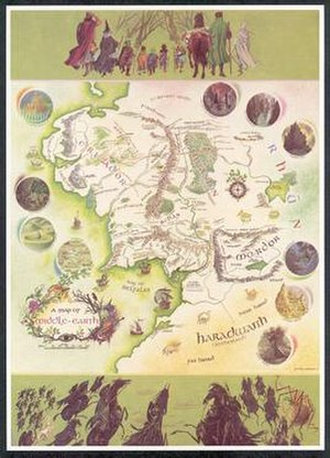 "Middle-earth - ""A Map of Middle-earth"" by Pauline Baynes, 1970. (This map only depicts the north-west of Middle-earth.)"